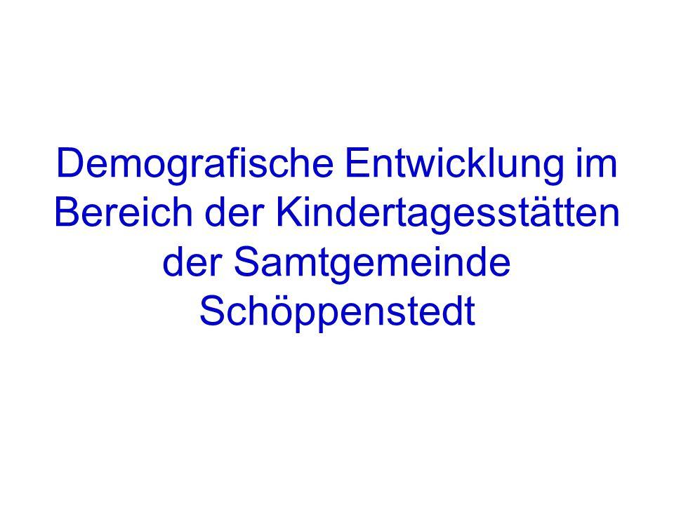 Demografische Entwicklung im Bereich der Kindertagesstätten der Samtgemeinde Schöppenstedt