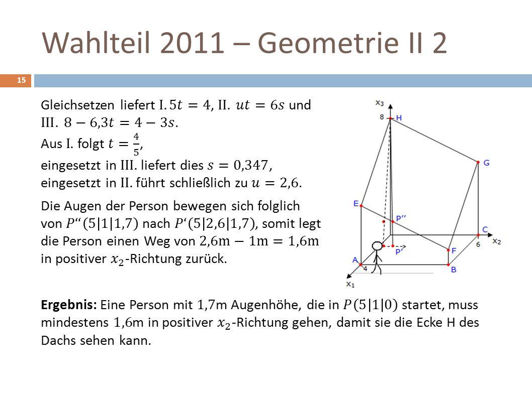 Wahlteil 2011 – Geometrie II 2 15