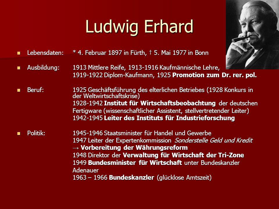 Ludwig Erhard Lebensdaten: * 4. Februar 1897 in Fürth, † 5. Mai 1977 in Bonn Lebensdaten: * 4. Februar 1897 in Fürth, † 5. Mai 1977 in Bonn Ausbildung