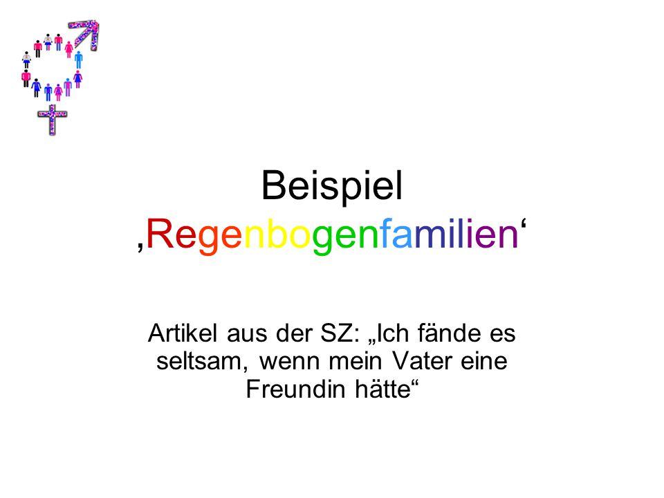 """Beispiel 'Regenbogenfamilien' Artikel aus der SZ: """"Ich fände es seltsam, wenn mein Vater eine Freundin hätte"""""""