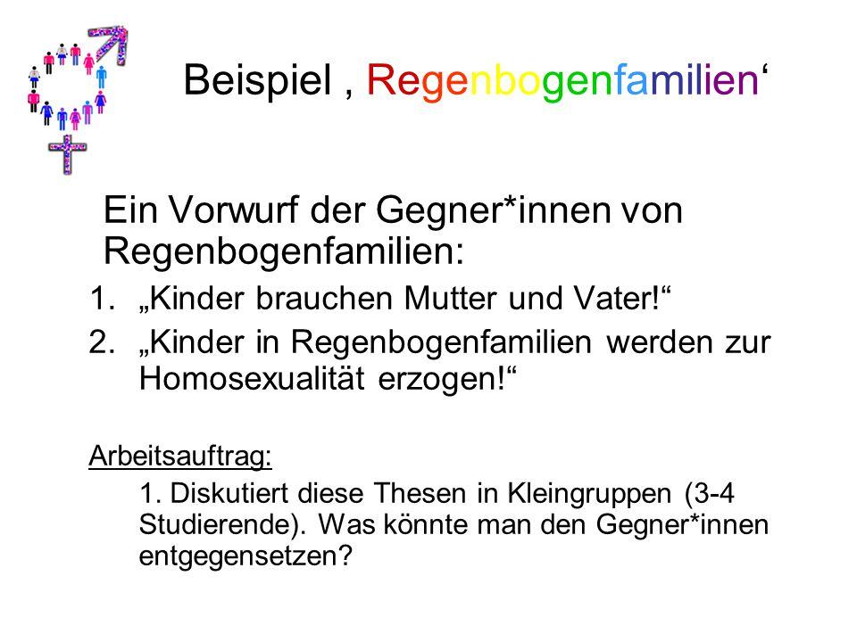 """Beispiel ' Regenbogenfamilien' Ein Vorwurf der Gegner*innen von Regenbogenfamilien: 1.""""Kinder brauchen Mutter und Vater!"""" 2.""""Kinder in Regenbogenfamil"""