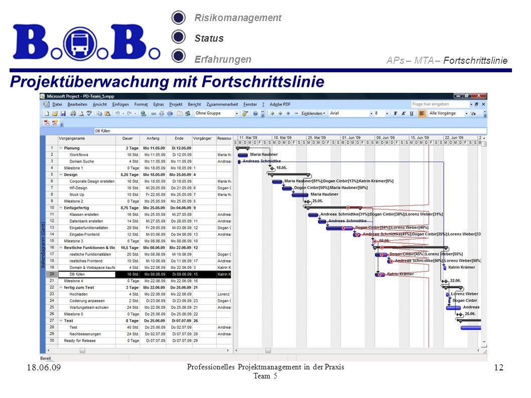 18.06.09 Professionelles Projektmanagement in der Praxis Team 5 12 Projektüberwachung mit Fortschrittslinie Risikomanagement Status Erfahrungen APs – MTA – Fortschrittslinie
