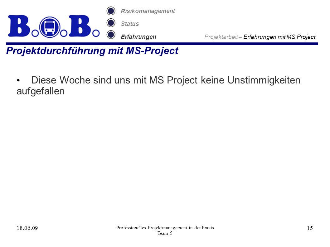 18.06.09 Professionelles Projektmanagement in der Praxis Team 5 15 Risikomanagement Status Erfahrungen Projektarbeit – Erfahrungen mit MS Project Projektdurchführung mit MS-Project Diese Woche sind uns mit MS Project keine Unstimmigkeiten aufgefallen