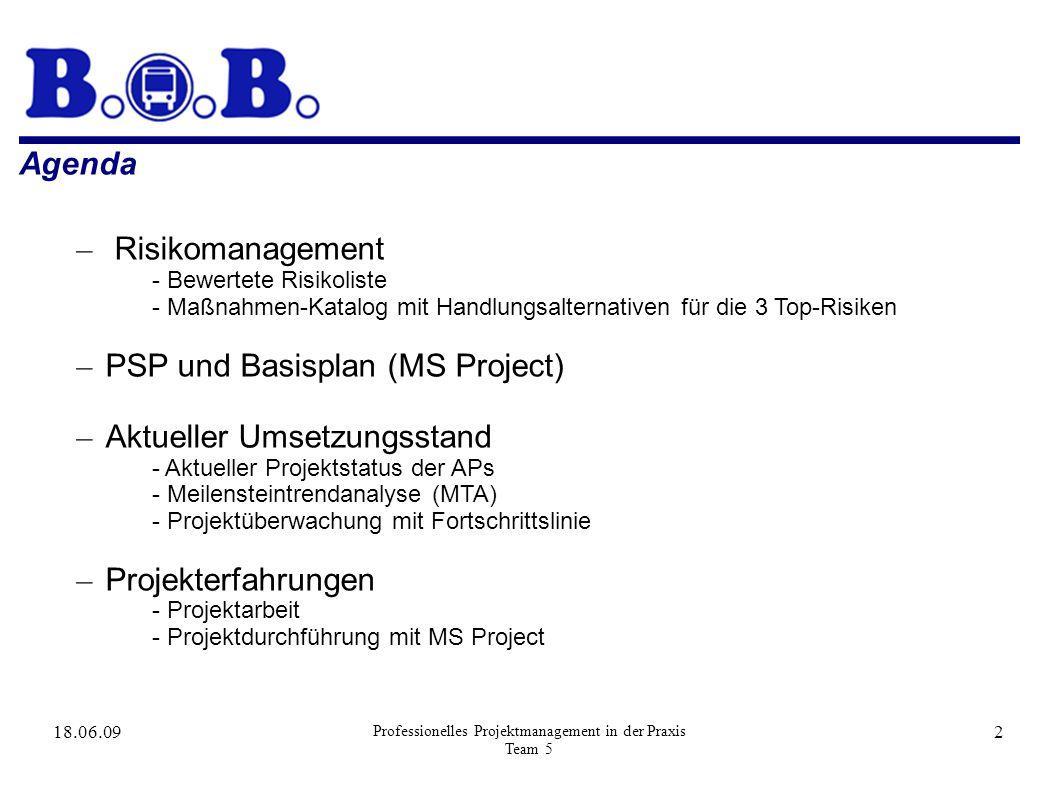 18.06.09 Professionelles Projektmanagement in der Praxis Team 5 2 Agenda – Risikomanagement - Bewertete Risikoliste - Maßnahmen-Katalog mit Handlungsalternativen für die 3 Top-Risiken – PSP und Basisplan (MS Project) – Aktueller Umsetzungsstand - Aktueller Projektstatus der APs - Meilensteintrendanalyse (MTA) - Projektüberwachung mit Fortschrittslinie – Projekterfahrungen - Projektarbeit - Projektdurchführung mit MS Project