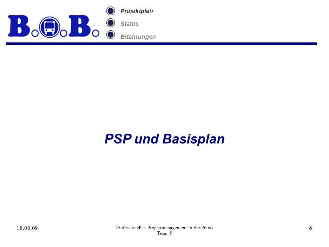 18.06.09 Professionelles Projektmanagement in der Praxis Team 5 6 Projektplan Status Erfahrungen PSP und Basisplan