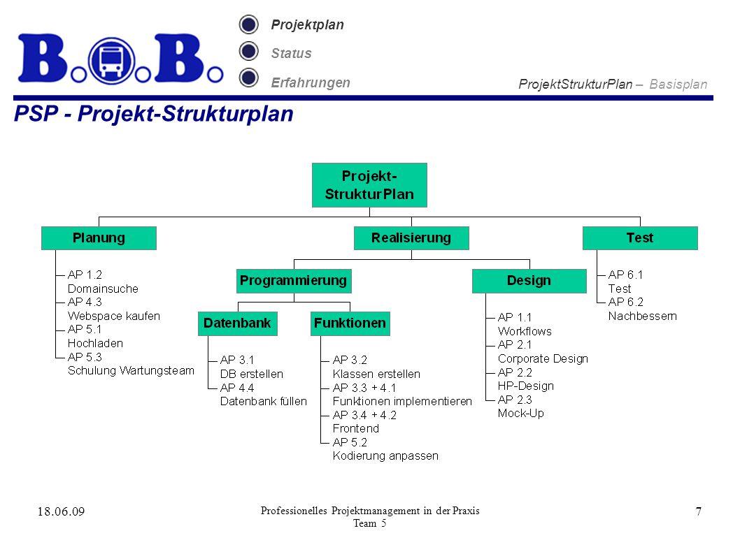 18.06.09 Professionelles Projektmanagement in der Praxis Team 5 7 Projektplan Status Erfahrungen PSP - Projekt-Strukturplan ProjektStrukturPlan – Basisplan