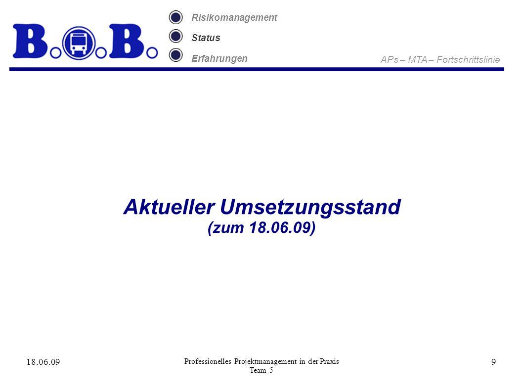 18.06.09 Professionelles Projektmanagement in der Praxis Team 5 9 Risikomanagement Status Erfahrungen Aktueller Umsetzungsstand (zum 18.06.09) APs – MTA – Fortschrittslinie