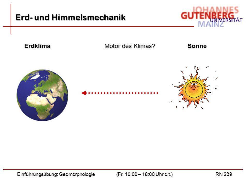 Einführungsübung: Geomorphologie(Fr. 16:00 – 18:00 Uhr c.t.)RN 239 Erd- und Himmelsmechanik ErdklimaSonne Motor des Klimas?