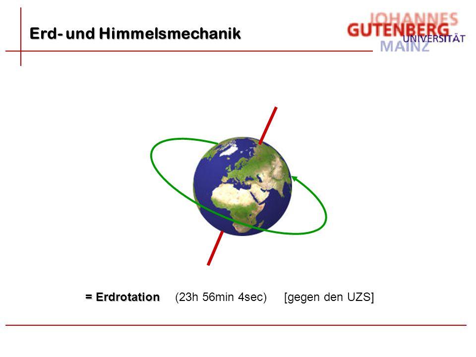 = Erdrotation (23h 56min 4sec)[gegen den UZS] Erd- und Himmelsmechanik
