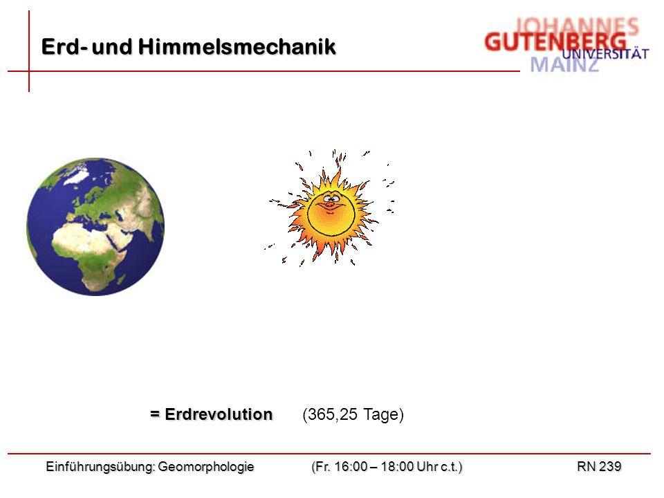 Einführungsübung: Geomorphologie(Fr. 16:00 – 18:00 Uhr c.t.)RN 239 = Erdrevolution (365,25 Tage) Erd- und Himmelsmechanik
