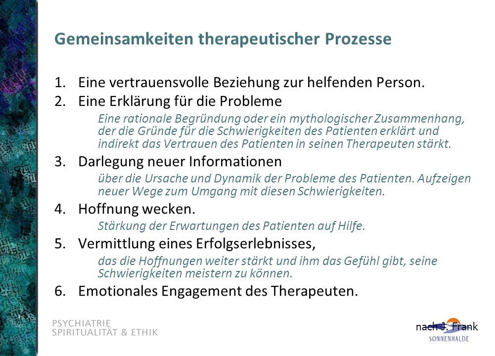 Gemeinsamkeiten therapeutischer Prozesse 1. Eine vertrauensvolle Beziehung zur helfenden Person. 2.Eine Erklärung für die Probleme Eine rationale Begr