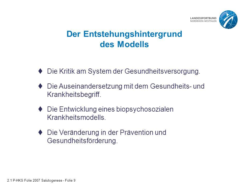 Der Entstehungshintergrund des Modells 2.1 P-HKS Folie 2007 Salutogenese - Folie 9  Die Kritik am System der Gesundheitsversorgung.  Die Auseinander