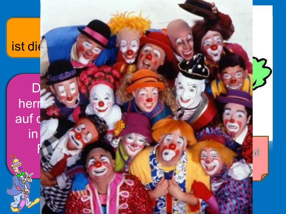 Da gibt es an den närrischen Tagen schulfrei und alle dürfen mit allen lustige Lieder singen und sich freuen… Schulfrei – неучебный день …zusammen mit den Narren den Menschen Bonbons, Süßigkeiten, Luftballons, Konfetti und Teddybären werfen.