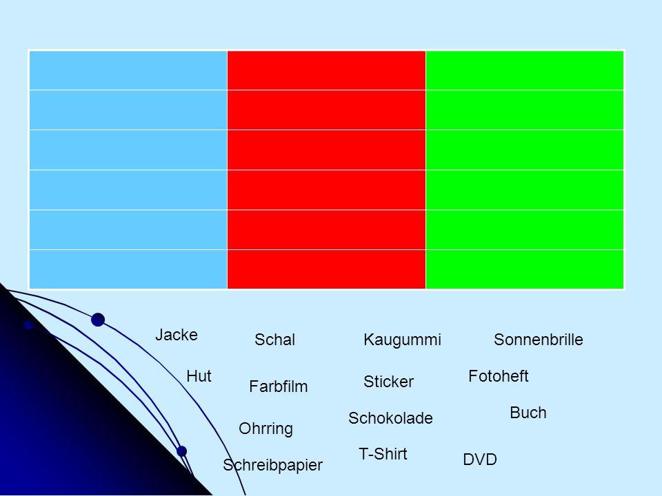 Jacke SchalKaugummiSonnenbrille Farbfilm Sticker FotoheftHut Ohrring Schokolade Buch Schreibpapier T-Shirt DVD