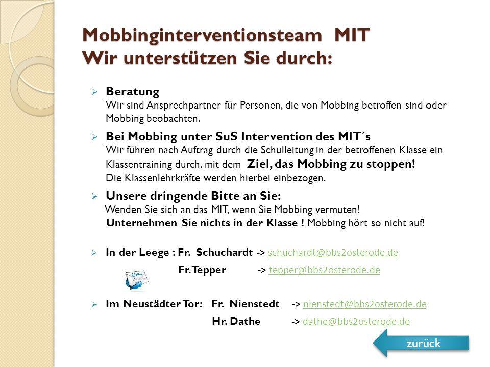 Mobbinginterventionsteam MIT Wir unterstützen Sie durch:  Beratung Wir sind Ansprechpartner für Personen, die von Mobbing betroffen sind oder Mobbing beobachten.