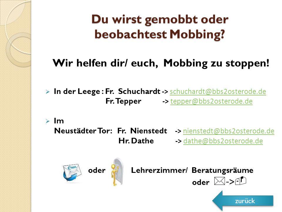 Du wirst gemobbt oder beobachtest Mobbing.Wir helfen dir/ euch, Mobbing zu stoppen.