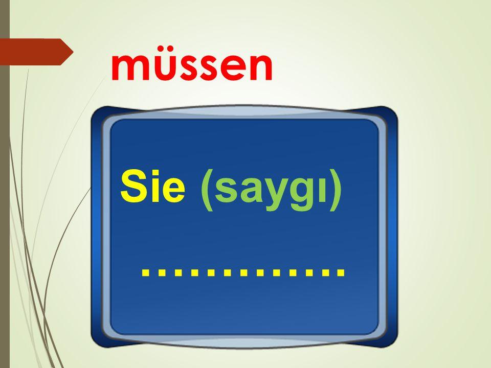 müssen Sie (saygı) ………….
