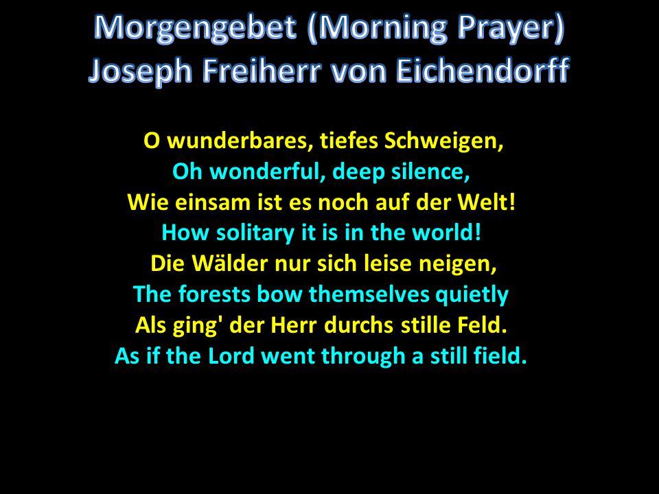 O wunderbares, tiefes Schweigen, O wunderbares, tiefes Schweigen, Oh wonderful, deep silence, Wie einsam ist es noch auf der Welt! How solitary it is