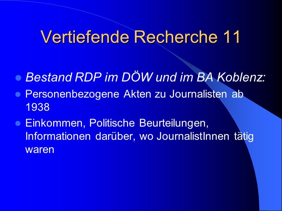 Vertiefende Recherche 11 Bestand RDP im DÖW und im BA Koblenz: Personenbezogene Akten zu Journalisten ab 1938 Einkommen, Politische Beurteilungen, Inf