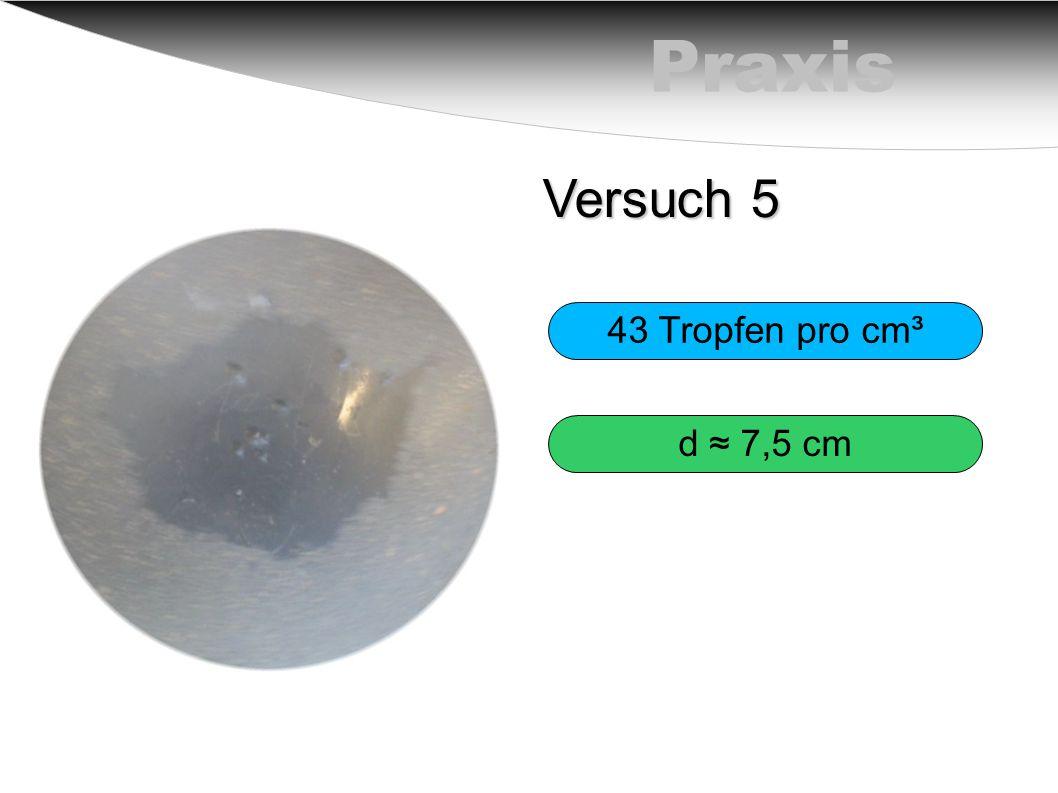 Praxis Versuch 5 43 Tropfen pro cm³ d ≈ 7,5 cm