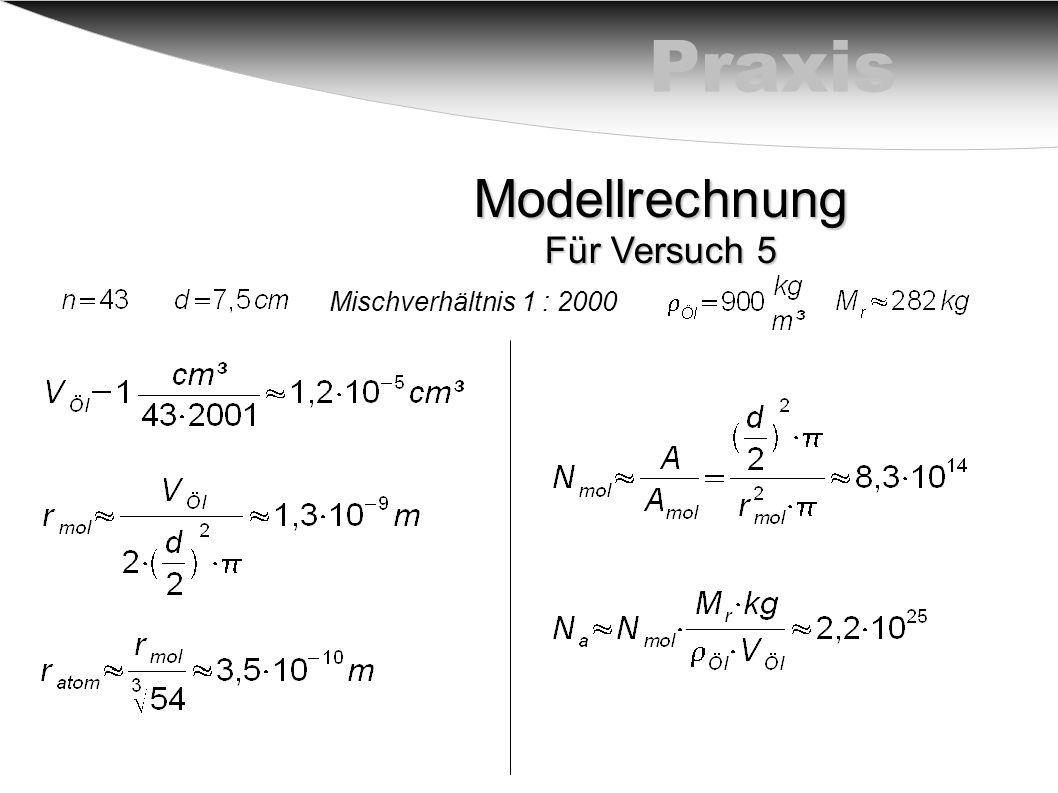 PraxisModellrechnung Für Versuch 5 Mischverhältnis 1 : 2000
