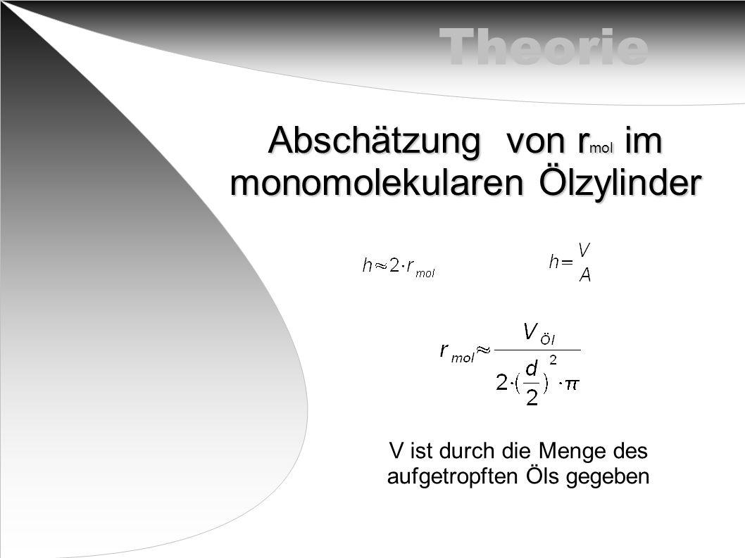 Theorie Abschätzung von r mol im monomolekularen Ölzylinder V ist durch die Menge des aufgetropften Öls gegeben