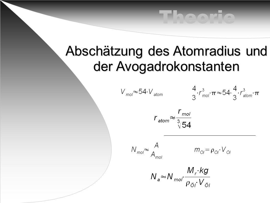 Theorie Abschätzung des Atomradius und der Avogadrokonstanten