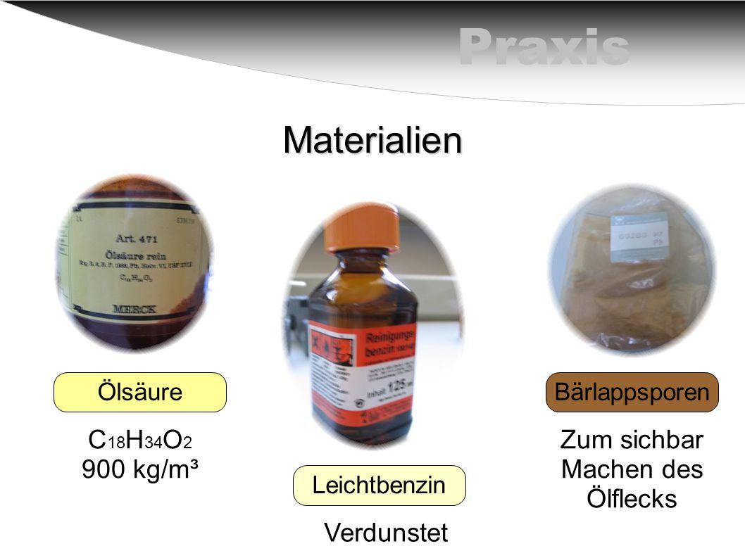 PraxisMaterialien Ölsäure Leichtbenzin Bärlappsporen C 18 H 34 O 2 900 kg/m³ Verdunstet Zum sichbar Machen des Ölflecks