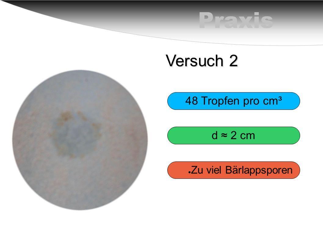 Praxis Versuch 2 48 Tropfen pro cm³ d ≈ 2 cm ● Zu viel Bärlappsporen