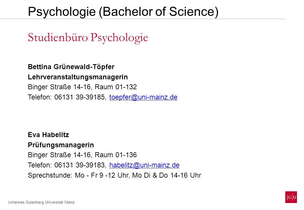 Johannes Gutenberg Universität Mainz Dipl.-Psych.
