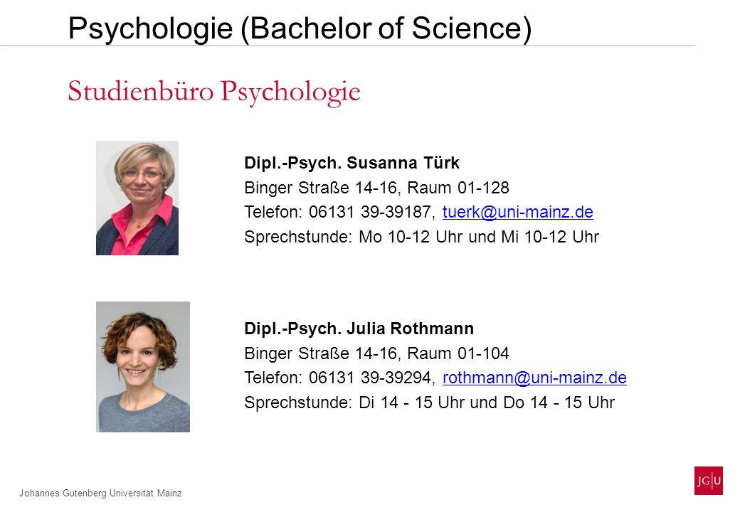 Johannes Gutenberg Universität Mainz www.psychologie.uni-mainz.de Psychologie (Master of Science)