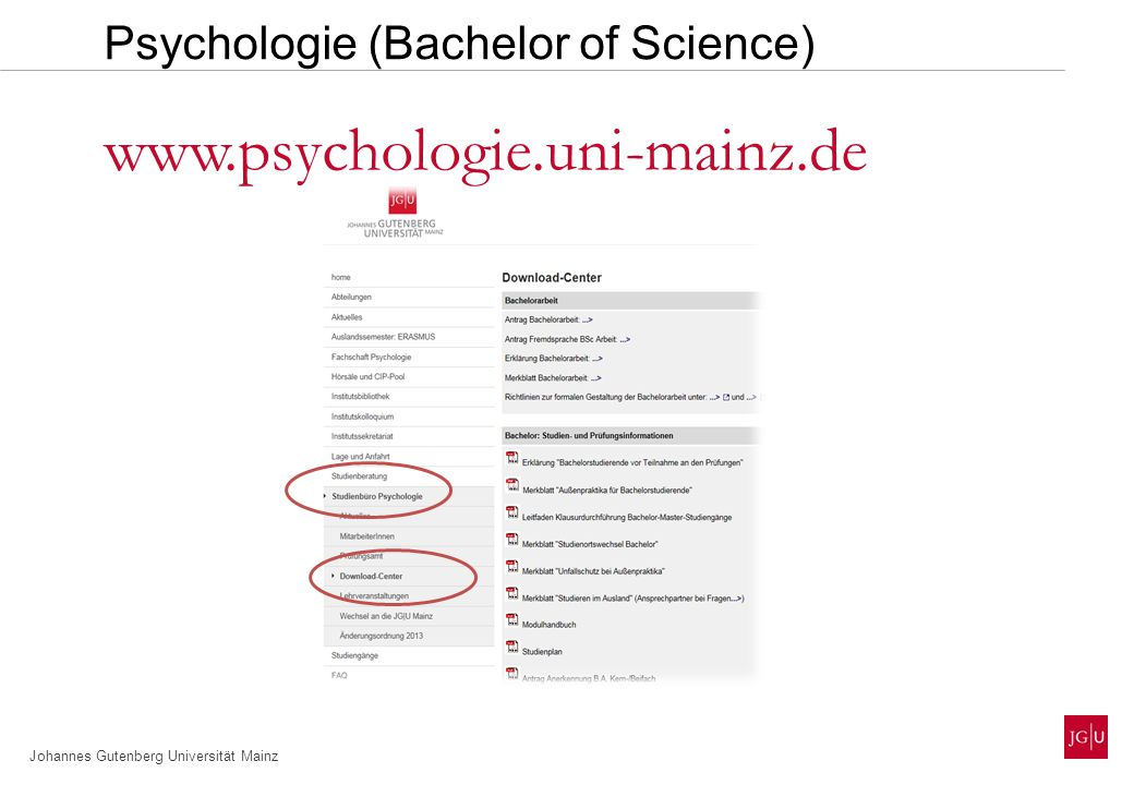 Johannes Gutenberg Universität Mainz Psychologie (Bachelor of Science) www.psychologie.uni-mainz.de