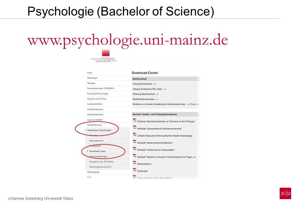 Johannes Gutenberg Universität Mainz Modul A:Biologische Psychologie Modul B:Methodenlehre Psychologie (Bachelor of Science) Modul F:Allgemeine Psychologie (Aufbau) Modul G:Sozial- und Rechtspsychologie (Basis) Modul I:Arbeits-, Organisations- und Wirtschaftspsych.