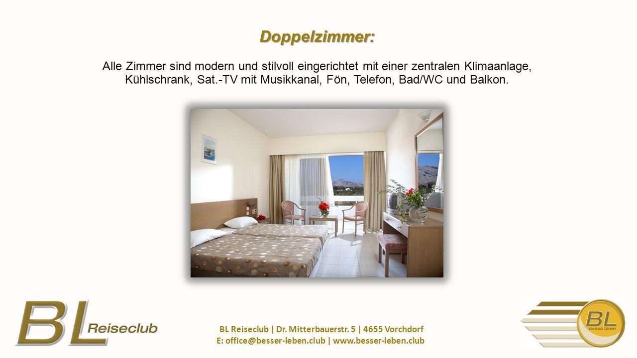 Doppelzimmer: Doppelzimmer: Alle Zimmer sind modern und stilvoll eingerichtet mit einer zentralen Klimaanlage, Kühlschrank, Sat.-TV mit Musikkanal, Fön, Telefon, Bad/WC und Balkon.