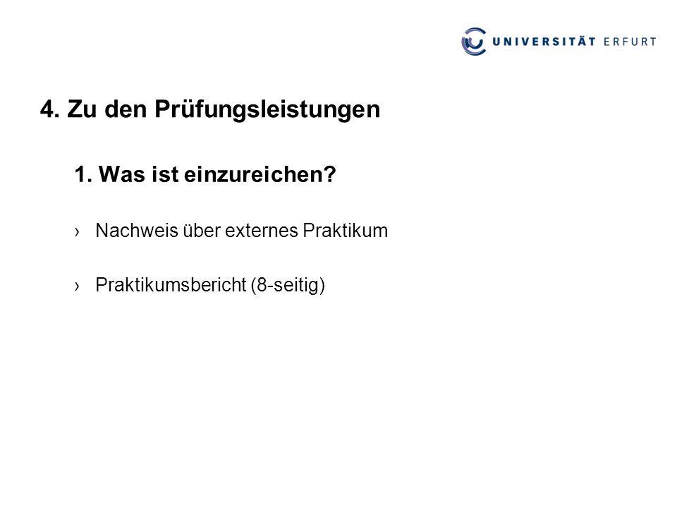 4. Zu den Prüfungsleistungen 1. Was ist einzureichen? ›Nachweis über externes Praktikum ›Praktikumsbericht (8-seitig)