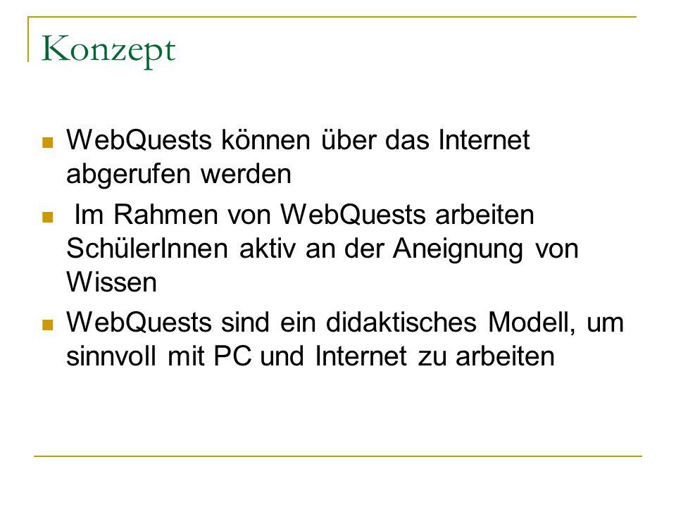 Konzept WebQuests können über das Internet abgerufen werden Im Rahmen von WebQuests arbeiten SchülerInnen aktiv an der Aneignung von Wissen WebQuests sind ein didaktisches Modell, um sinnvoll mit PC und Internet zu arbeiten