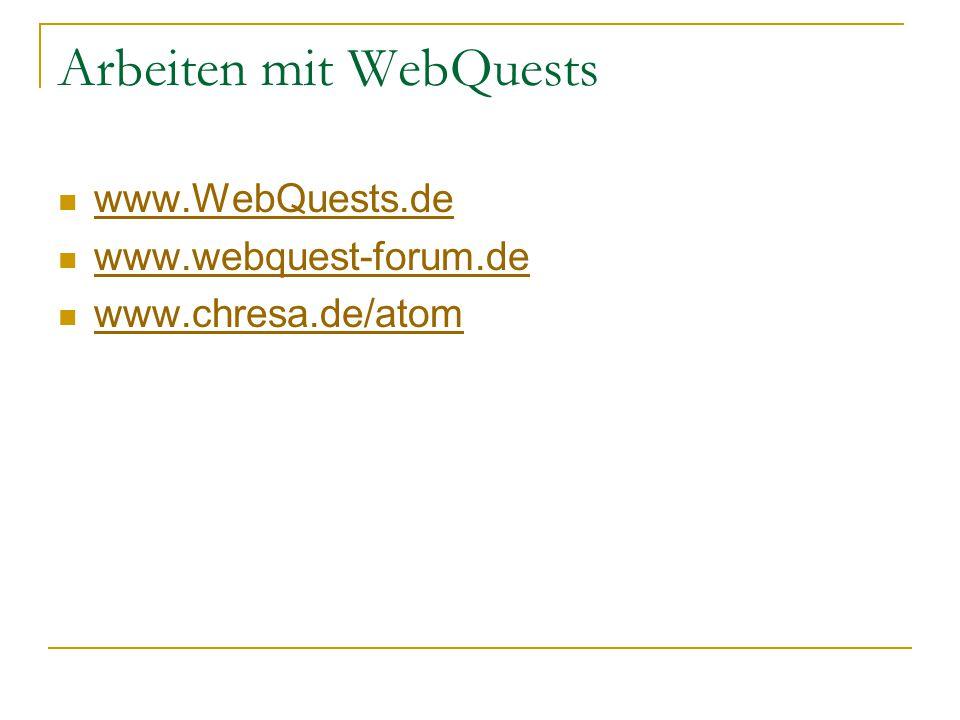 Arbeiten mit WebQuests www.WebQuests.de www.webquest-forum.de www.chresa.de/atom