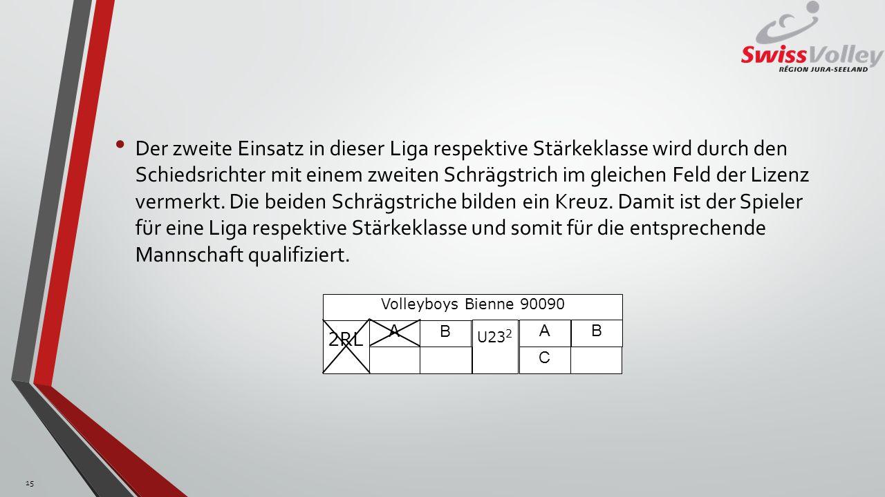 Der zweite Einsatz in dieser Liga respektive Stärkeklasse wird durch den Schiedsrichter mit einem zweiten Schrägstrich im gleichen Feld der Lizenz ver