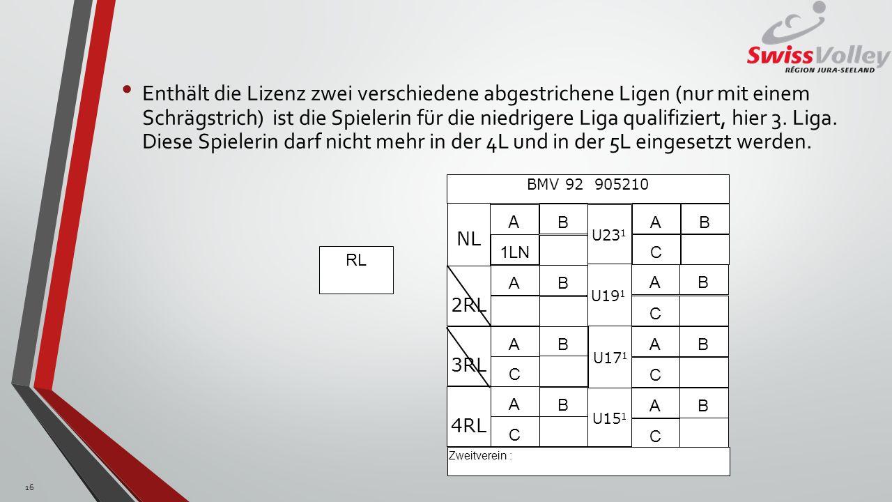 Enthält die Lizenz zwei verschiedene abgestrichene Ligen (nur mit einem Schrägstrich) ist die Spielerin für die niedrigere Liga qualifiziert, hier 3.