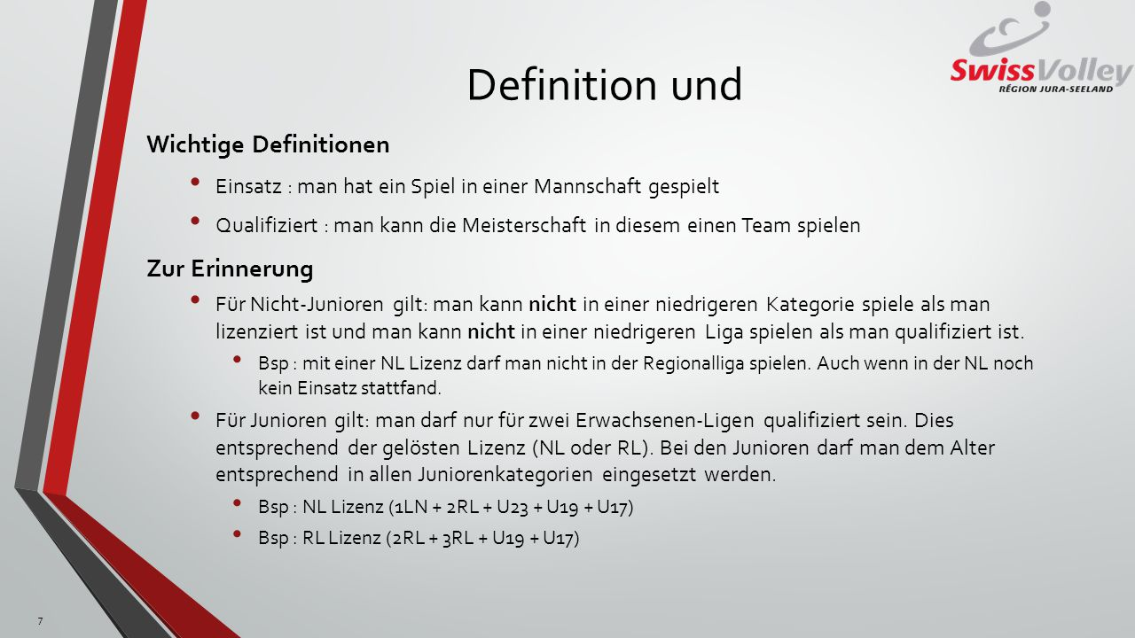 Definition und Wichtige Definitionen Einsatz : man hat ein Spiel in einer Mannschaft gespielt Qualifiziert : man kann die Meisterschaft in diesem eine