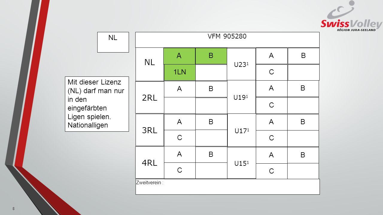 U19 1 U15 1 NL 3RL U17 1 A 1LN B VFM 905280 U23 1 A C B AB A C B A C B 2RL A C B A C B 4RL A C B Zweitverein : RL Mit dieser Lizenz (NL) darf man nur in den eingefärbten Ligen spielen.