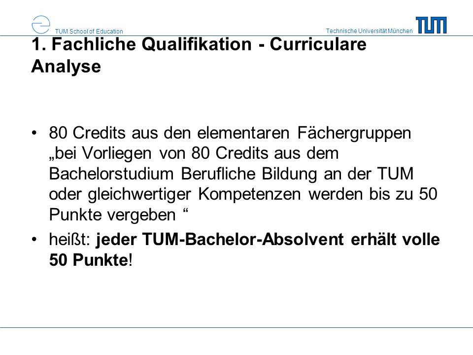 """Technische Universität München TUM School of Education 1. Fachliche Qualifikation - Curriculare Analyse 80 Credits aus den elementaren Fächergruppen """""""
