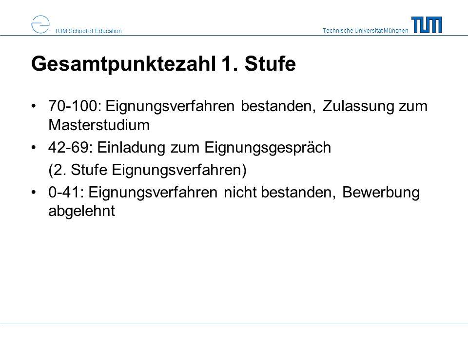 Technische Universität München TUM School of Education Gesamtpunktezahl 1. Stufe 70-100: Eignungsverfahren bestanden, Zulassung zum Masterstudium 42-6