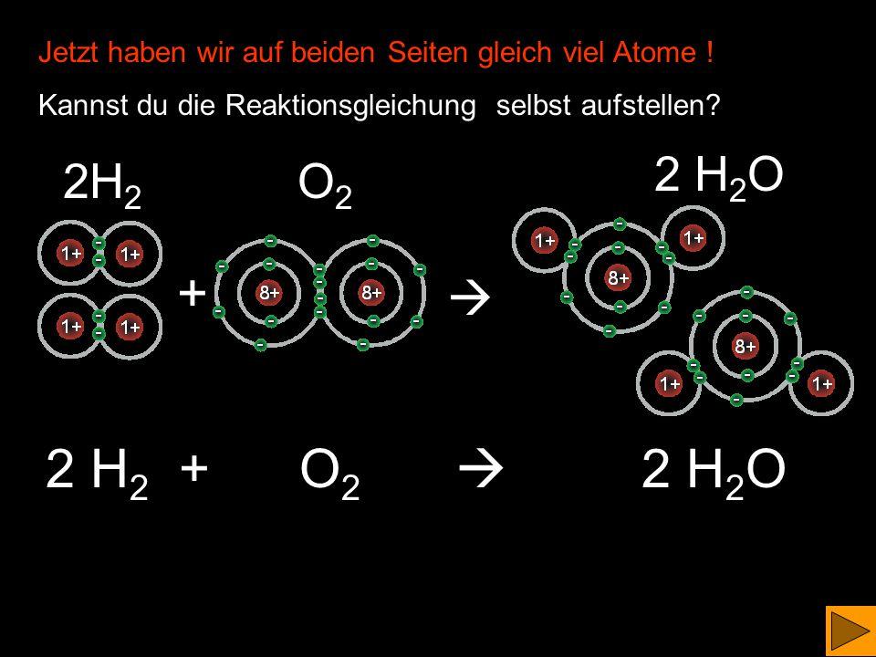 H 2 + O 2  H 2 O + O Jetzt stimmt es zwar rein rechnerisch, aber wir haben einen 'Waisenknaben', der sich nach einem Oktett sehnt ! +  H2H2 O2O2 H2O