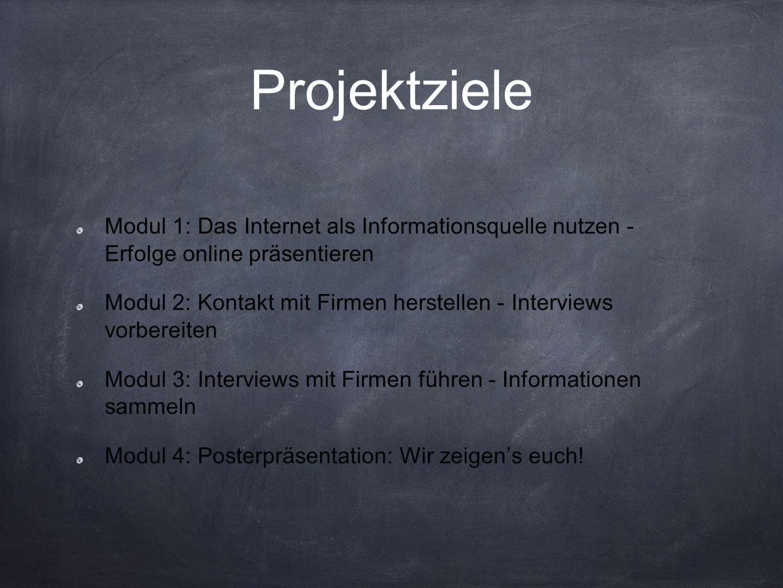 Projektziele Modul 1: Das Internet als Informationsquelle nutzen - Erfolge online präsentieren Modul 2: Kontakt mit Firmen herstellen - Interviews vorbereiten Modul 3: Interviews mit Firmen führen - Informationen sammeln Modul 4: Posterpräsentation: Wir zeigen's euch!