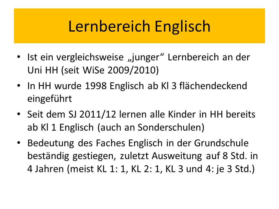 """Lernbereich Englisch Ist ein vergleichsweise """"junger"""" Lernbereich an der Uni HH (seit WiSe 2009/2010) In HH wurde 1998 Englisch ab Kl 3 flächendeckend"""