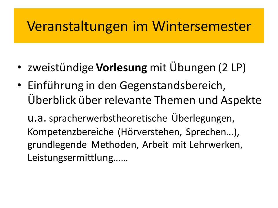 Veranstaltungen im Wintersemester zweistündige Vorlesung mit Übungen (2 LP) Einführung in den Gegenstandsbereich, Überblick über relevante Themen und