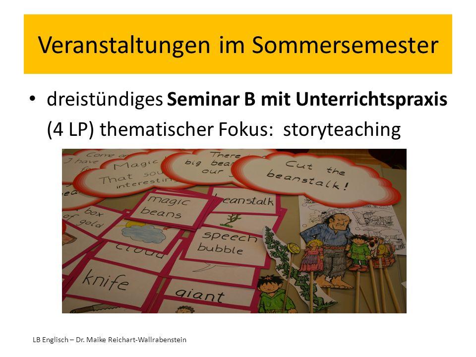 Veranstaltungen im Sommersemester dreistündiges Seminar B mit Unterrichtspraxis (4 LP) thematischer Fokus: storyteaching LB Englisch – Dr. Maike Reich
