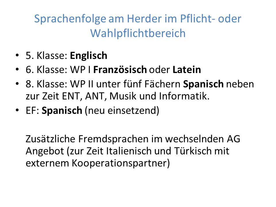 Sprachenfolge am Herder im Pflicht- oder Wahlpflichtbereich 5.