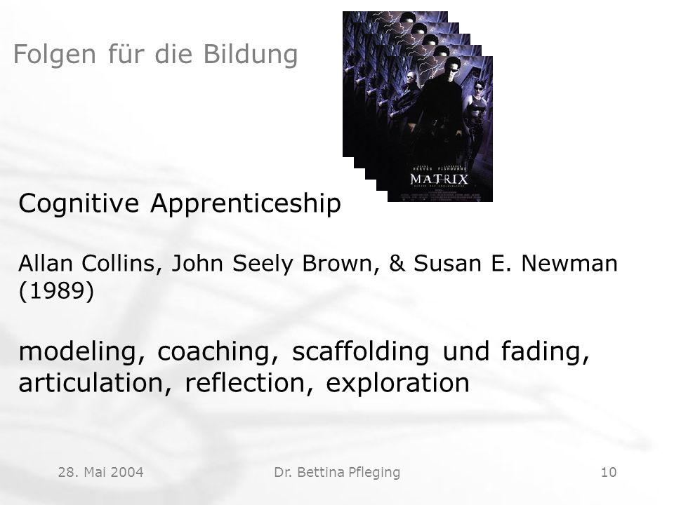 28. Mai 2004Dr. Bettina Pfleging10 Folgen für die Bildung Cognitive Apprenticeship Allan Collins, John Seely Brown, & Susan E. Newman (1989) modeling,